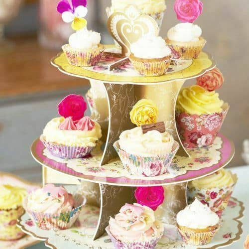 Vintage Floral 3 Tier Cake Stand, Alice In Wonderland Cupcake Stand, Wedding Party Food Display Decorations, Afternoon Tea Party Cake Stand
